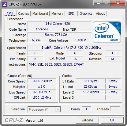 screenshot of CPU-Z validation for Dump [nr6r57] - Submitted by  Putte_br  - 2014-04-18 10:04:27