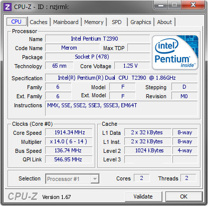 screenshot of CPU-Z validation for Dump [nzjrmk] - Submitted by  ASPIRE  - 2013-12-16 10:12:53