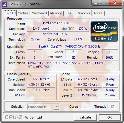 screenshot of CPU-Z validation for Dump [p4scs7] - Submitted by  ALEMSALLEH-PC  - 2014-03-20 23:03:44