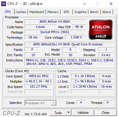 screenshot of CPU-Z validation for Dump [p8cqsw] - Submitted by  ATHLON860K  - 2015-08-25 11:59:24