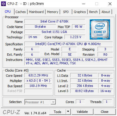 screenshot of CPU-Z validation for Dump [p9y3mm] - Submitted by  Tanayut-Thxcomofficial  - 2015-12-29 17:11:06