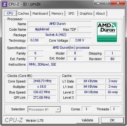 screenshot of CPU-Z validation for Dump [pihd3r] - Submitted by  Snegovick  - 2014-09-13 13:09:43