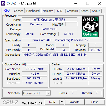 AMD Opteron 175 UP 221091 MHz