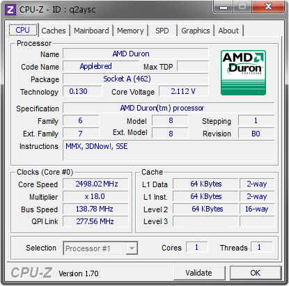 screenshot of CPU-Z validation for Dump [q2aysc] - Submitted by  Snegovick  - 2014-09-13 13:09:02