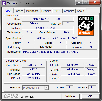 screenshot of CPU-Z validation for Dump [qdeywk] - Submitted by  DEIKATA  - 2013-11-18 14:11:35