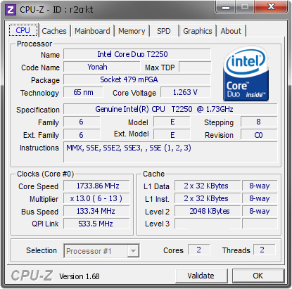 Top 15 Highest Frequencies For Genuine IntelR CPU T2250 173GHz