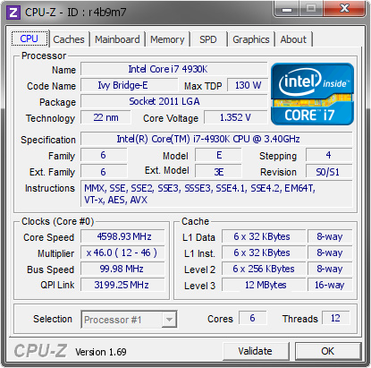 screenshot of CPU-Z validation for Dump [r4b9m7] - Submitted by  egnirra  - 2014-05-31 00:05:00