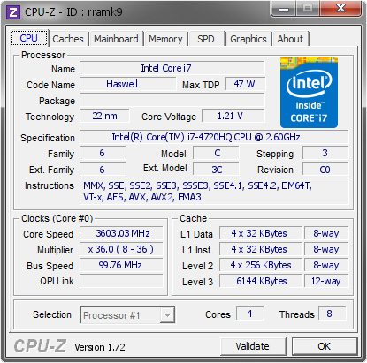 screenshot of CPU-Z validation for Dump [rramk9] - Submitted by  USER-M5PT1A50MM  - 2015-07-10 08:07:05