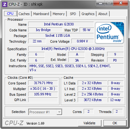screenshot of CPU-Z validation for Dump [shkvpk] - Submitted by  Wartheridon  - 2014-04-12 20:04:25