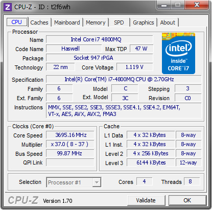 screenshot of CPU-Z validation for Dump [t2f6wh] - Submitted by  M4800-EIGHT1  - 2014-08-04 19:08:43