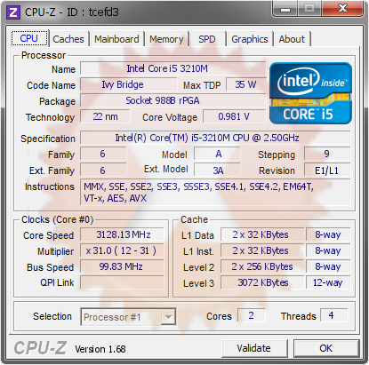 screenshot of CPU-Z validation for Dump [tcefd3] - Submitted by  ACER-PC  - 2014-03-04 09:03:06