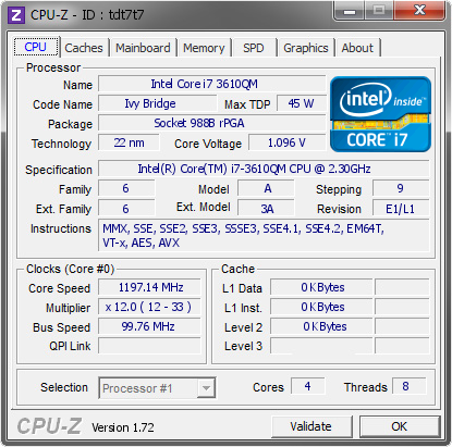 screenshot of CPU-Z validation for Dump [tdt7t7] - Submitted by  CravinR1  - 2015-08-15 23:27:27