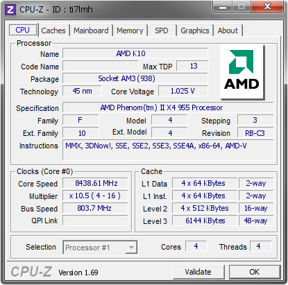 screenshot of CPU-Z validation for Dump [ti7lmh] - Submitted by  WIN7USE-GNLY57H  - 2014-04-24 14:04:47
