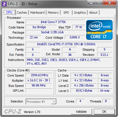 screenshot of CPU-Z validation for Dump [ttxlye] - Submitted by  letter6  - 2014-08-20 01:08:44