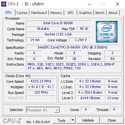 screenshot of CPU-Z validation for Dump [ufqfzm] - Submitted by  DESKTOP-I1NP9P2  - 2018-09-14 15:28:22
