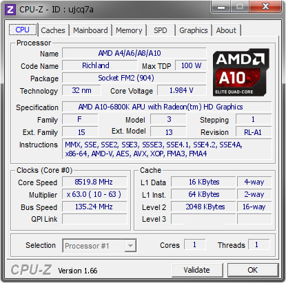 screenshot of CPU-Z validation for Dump [ujcq7a] - Submitted by  CherV@HKEPC Lab  - 2013-10-15 10:10:41