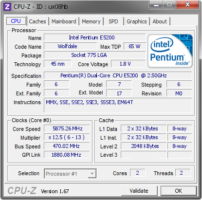 screenshot of CPU-Z validation for Dump [ux08hb] - Submitted by  TaPaKaH  - 2014-02-07 17:02:33