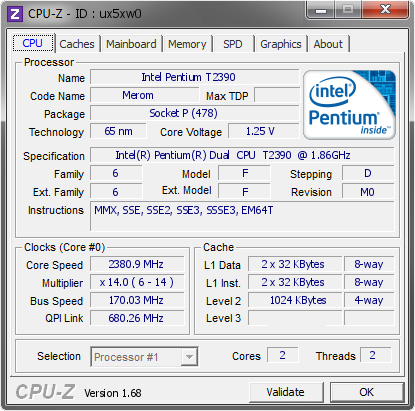 screenshot of CPU-Z validation for Dump [ux5xw0] - Submitted by  Lippokratis  - 2014-02-21 17:02:18