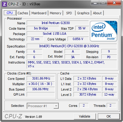 screenshot of CPU-Z validation for Dump [v93lee] - Submitted by  Wartheridon  - 2014-04-15 12:04:51