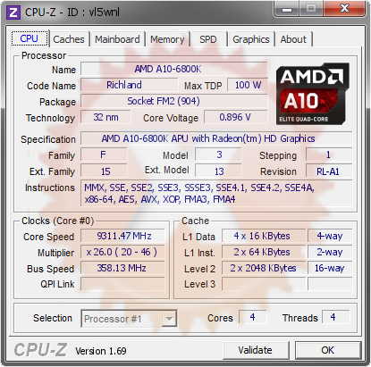 screenshot of CPU-Z validation for Dump [vl5wnl] - Submitted by  A10-6800K  - 2014-07-14 16:07:01