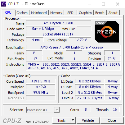 screenshot of CPU-Z validation for Dump [wc9ans] - Submitted by  X-RYZEN-MSI J-Bo  - 2017-03-11 20:51:50