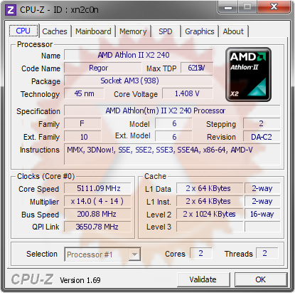 screenshot of CPU-Z validation for Dump [xn2c0n] - Submitted by  CHK-PC  - 2014-07-14 06:07:48