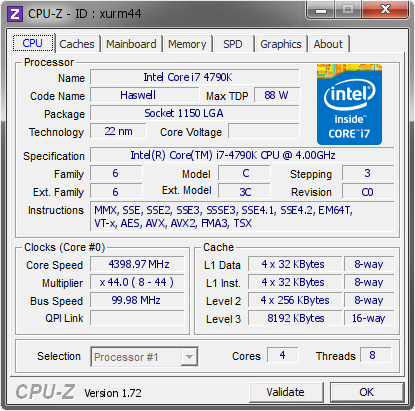 screenshot of CPU-Z validation for Dump [xurm44] - Submitted by  VICTOR-PC  - 2015-05-07 15:05:57
