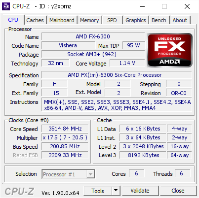 screenshot of CPU-Z validation for Dump [y2xpmz] - Submitted by  Anonymous  - 2019-10-10 04:07:11