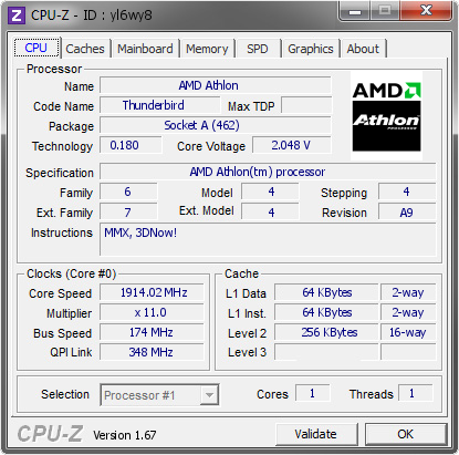 screenshot of CPU-Z validation for Dump [yl6wy8] - Submitted by  Boblemagnifique Athlon 1100 Caskade  - 2014-01-13 00:01:06
