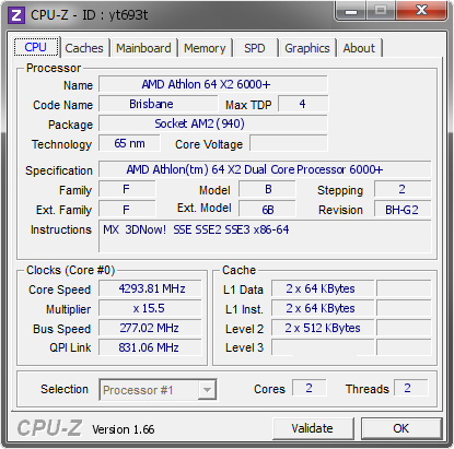 screenshot of CPU-Z validation for Dump [yt693t] - Submitted by  Speedtime.Joker  - 2009-03-26 00:03:34