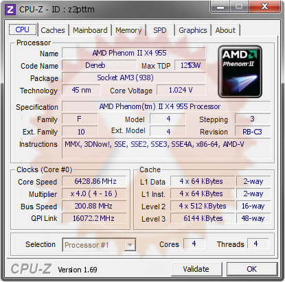 screenshot of CPU-Z validation for Dump [z2pttm] - Submitted by  AMDPHENOM  - 2014-06-06 14:06:07