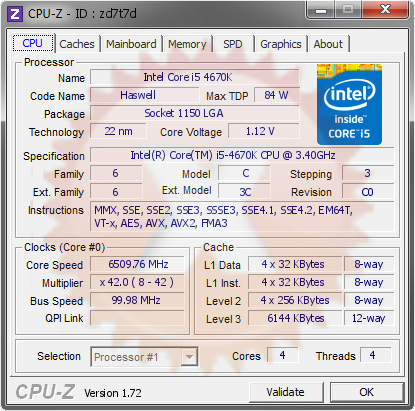 screenshot of CPU-Z validation for Dump [zd7t7d] - Submitted by  DAVID-PC  - 2015-04-07 21:04:14