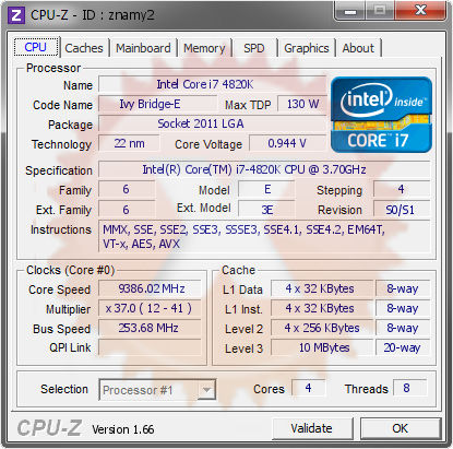 screenshot of CPU-Z validation for Dump [znamy2] - Submitted by  Flannery  - 2013-12-04 13:12:46