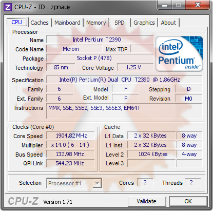 screenshot of CPU-Z validation for Dump [zpnauy] - Submitted by  JIN0F-PC  - 2015-01-17 22:01:10