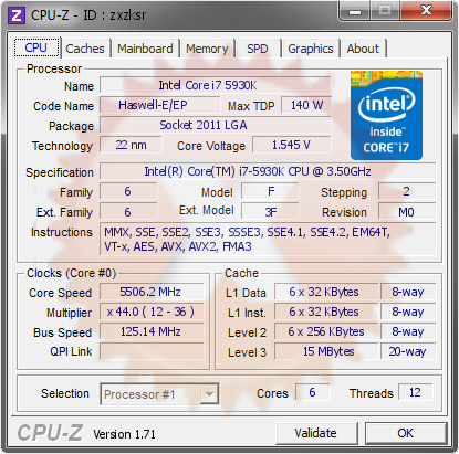 screenshot of CPU-Z validation for Dump [zxzksr] - Submitted by  ksin  - 2015-02-21 22:02:59