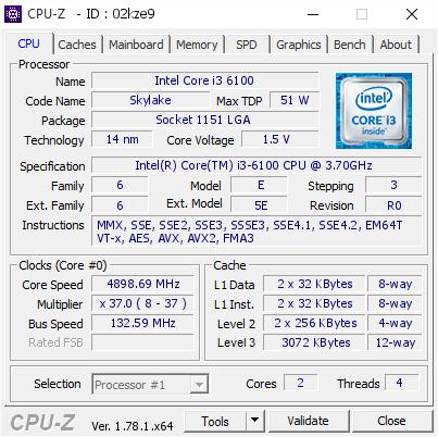 Intel Core i3 6100 @ 4898.69 MHz - CPU-Z VALIDATOR