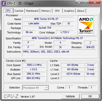 AMD Turion 64 ML-37 @ 2983 11 MHz - CPU-Z VALIDATOR