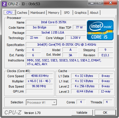 screenshot of CPU-Z validation for Dump [0b6c53] - Submitted by  ZyvoX  - 2014-08-20 19:08:02