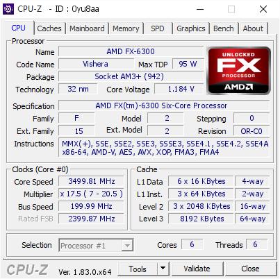 AMD FX-6300 @ 3499 81 MHz - CPU-Z VALIDATOR