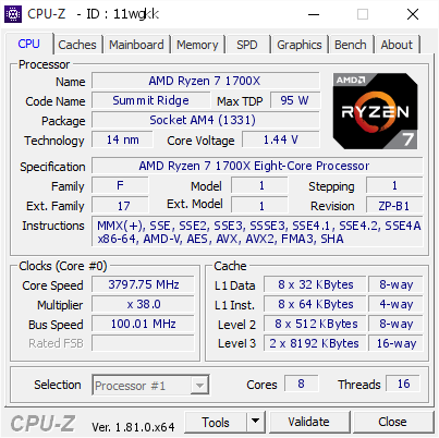 screenshot of CPU-Z validation for Dump [11wgkk] - Submitted by  MSI X370 XPOWER TITANIUM  - 2017-10-22 22:18:21