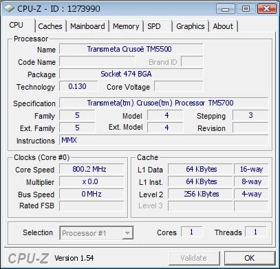 Скриншот Transmeta Crusoe
