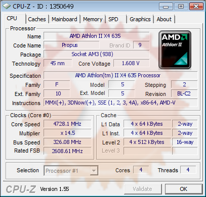 Lovro S Cpu Frequency Score 4728 Mhz With A Athlon Ii X4 635