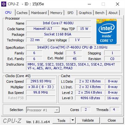 Intel Core i7 4600U @ 2993 93 MHz - CPU-Z VALIDATOR