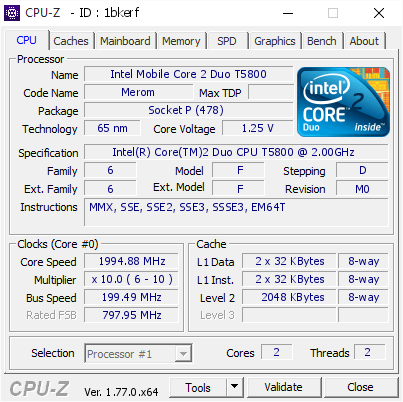 Top 15 Highest frequencies for Intel(R) Core(TM)2 Duo CPU T5800