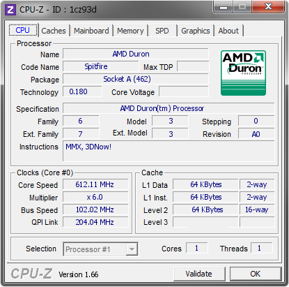 screenshot of CPU-Z validation for Dump [1cz93d] - Submitted by  _Mak·Dll_  - 2013-09-27 16:09:03