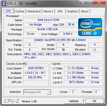 screenshot of CPU-Z validation for Dump [1mwhbl] - Submitted by  Ryan1  - 2014-04-16 01:04:21