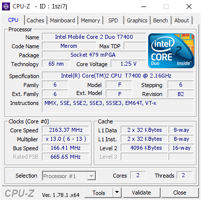 Intel Mobile Core 2 Duo T7400 @ 2163 37 MHz - CPU-Z VALIDATOR