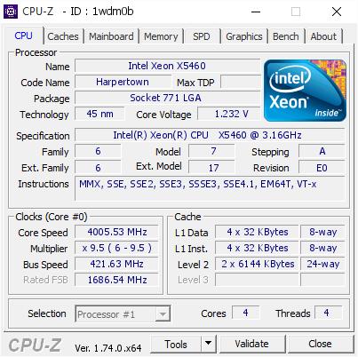 Intel Xeon X5460 @ 4005 53 MHz - CPU-Z VALIDATOR