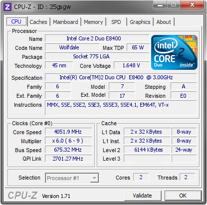screenshot of CPU-Z validation for Dump [25gsgw] - Submitted by  nickolp1974  - 2015-07-27 17:07:12