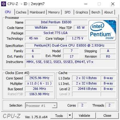 Intel Pentium E6500 @ 2925 96 MHz - CPU-Z VALIDATOR